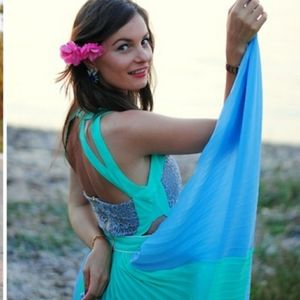 Brand New Turquoise Pleated Dress